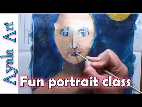 Online art class | Party Hat Painting Mixed Media Art Class