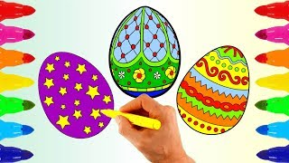 Coloring Pages Easter Eggs | How to Draw for Kids  | Learn Rainbow colors for Children with Markers