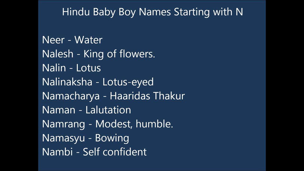 Indian Hindu Baby Boy Names N