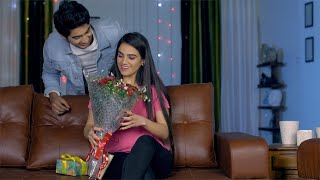 Young adorable girl getting valentine's special gifts from her romantic boyfriend
