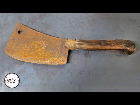 Rusty Butcher's Cleaver Knife Restoration