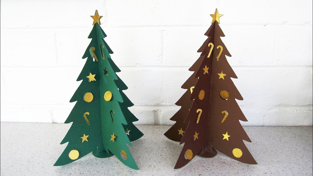 Paper Christmas Tree DIY   Learn How To Make The Christmas Craft From  Template   EzyCraft   YouTube