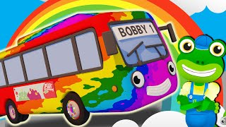 Learn Colors With Rainbow Bus! | Gecko's Garage | Bus Videos For Toddlers | School Bus Car Wash