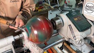 Bowling Ball Vs Woodturning Lathe = Forbidden Fruit Bowl