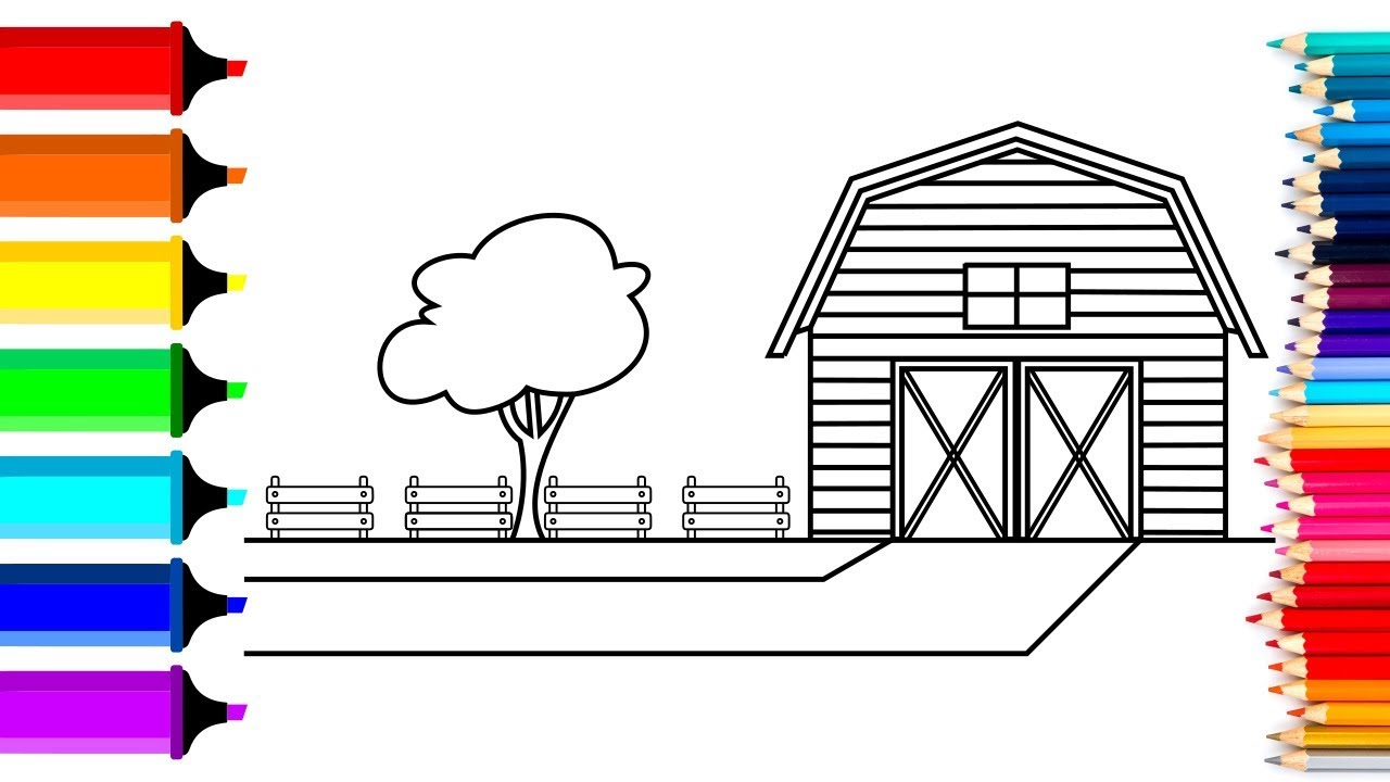 Drawing and coloring a farm house coloring pages with paint for kids and toddler
