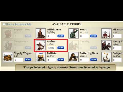 kingdoms of camelot barb camps 1 to 10, troop count with no loss