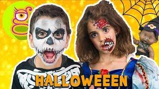 🎃 Somos ZOMBIES en Halloween 👻 MAQUILLAJE terrorífico de HALLOWEEN - Lara y Nico son Zombies