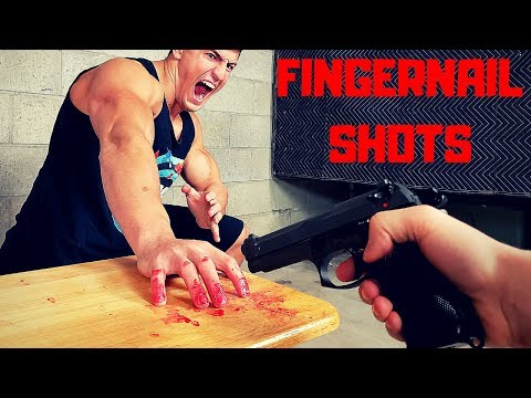 Shot POINT BLANK in the Fingernails   Bodybuilder VS World's Most Painful Airsoft Guns Challenge