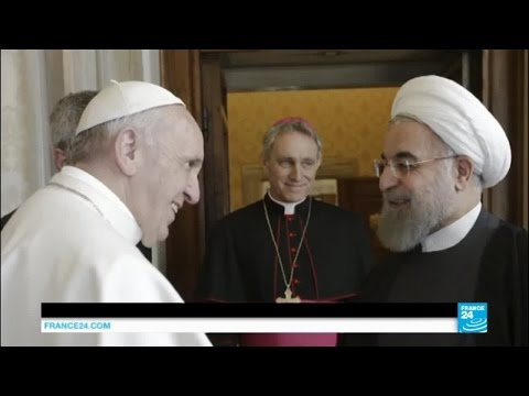 Pope Francis welcomes Iranian president Hassan Rouhani for a historic meeting