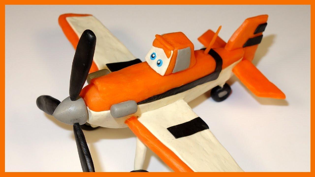 лепим из пластилина самолет дасти самолеты Dusty In Plasticine Disney Planes
