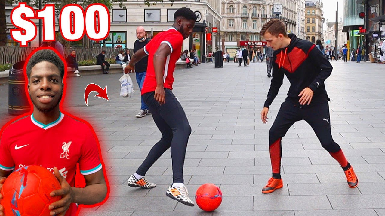 PUBLIC NUTMEGS in LONDON with SV2! ($100 Football Challenge)