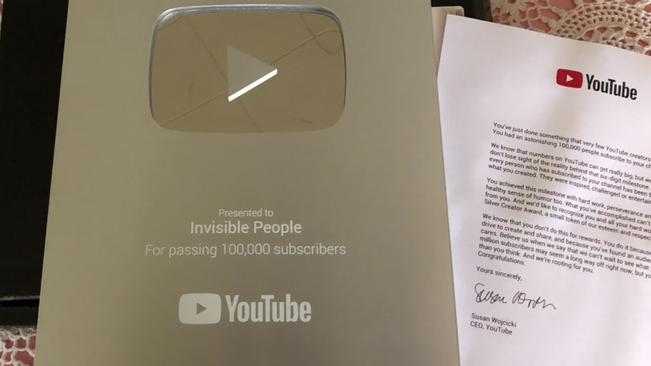 unboxing invisible people s youtube silver creator award silver