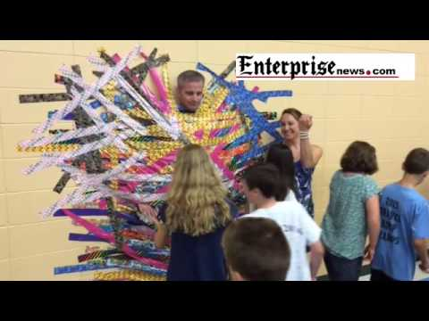 LaLiberte Elementary School in Raynham principal Dennis Bray gets duct to wall by students