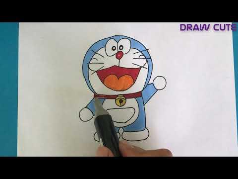 Doraemon Hướng Dẩn Vẽ Và Tô Màu Đơn Giản - How To Draw Doraemon Easy
