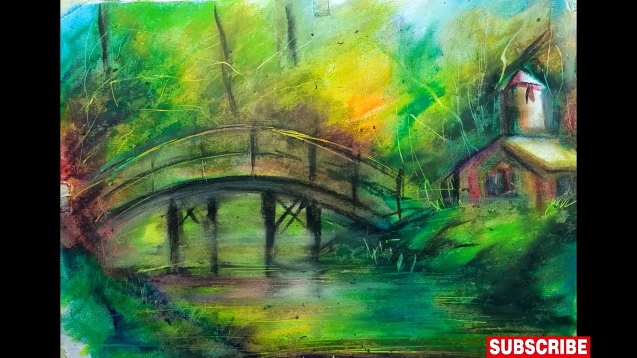 how to draw a scenery of nature with oil pastels || true ...