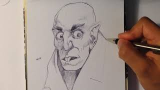 Drawing Nosferatu Vampire - Halloween Drawings