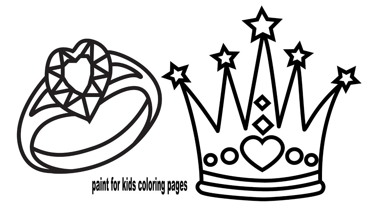 How to Draw Crown and Ring, Coloring Pages for Kids Learn Colour ...