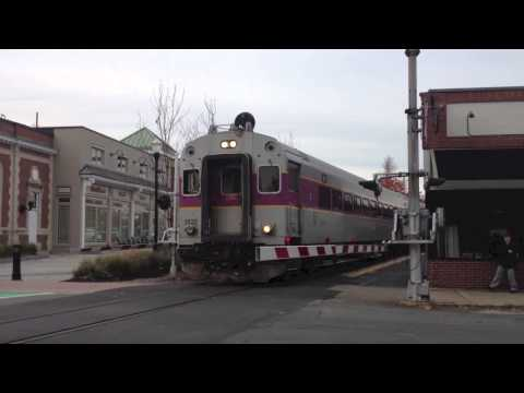MBTA With Lots Of Horn In Needham Center