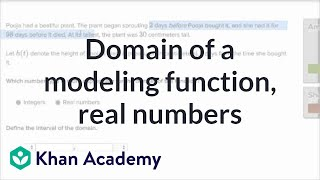 How To Determine The Domain Of A Modeling Function (example With A Function) | Khan Academy