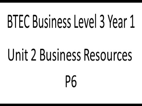 BTEC Business Level 3 Year 1 Unit 2 Business Resources P6