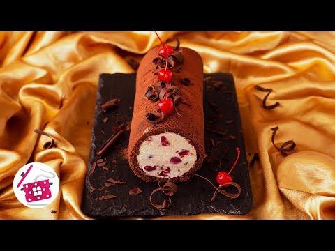 Гости в Праздник ТАКОГО не ОЖИДАЮТ! Шоколадный Бисквитный РУЛЕТ-МОРОЖЕНОЕ с ВИШНЕЙ на ДЕСЕРТ к ЧАЮ!