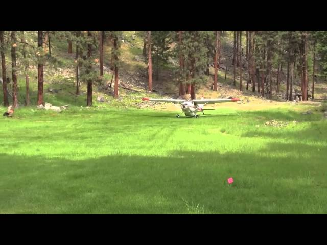Cessna 185 taking off and landing at Allison Ranch