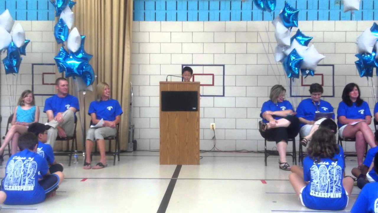 elementary school graduation speech This speech was delivered by melanie ward, principal of mendon center elementary school on june 22, 2010 on its annual moving up day ceremony which occurs on the last day of schoolas in any good speech, the speaker's words have resonance not only for the graduates but for all audience members, and i asked mrs ward for permission to share.