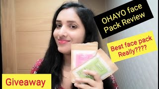 Best face pack for glowing skin!! OHAYO face pack review and demo!! Giveaway of the month!!