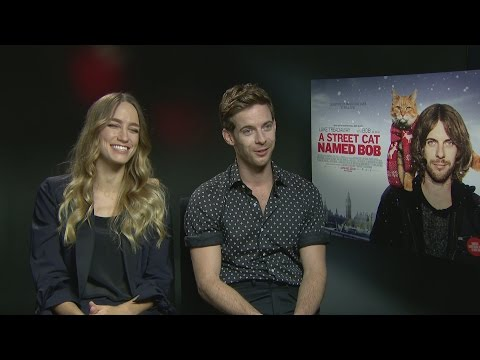 Luke Treadaway and Ruta Gedmintas say Bob the cat has sights set on world domination