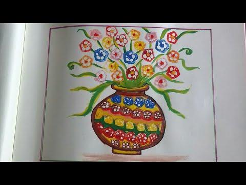 Vegetable Painting Art:draw A Flowerpot Using Ladyfinger