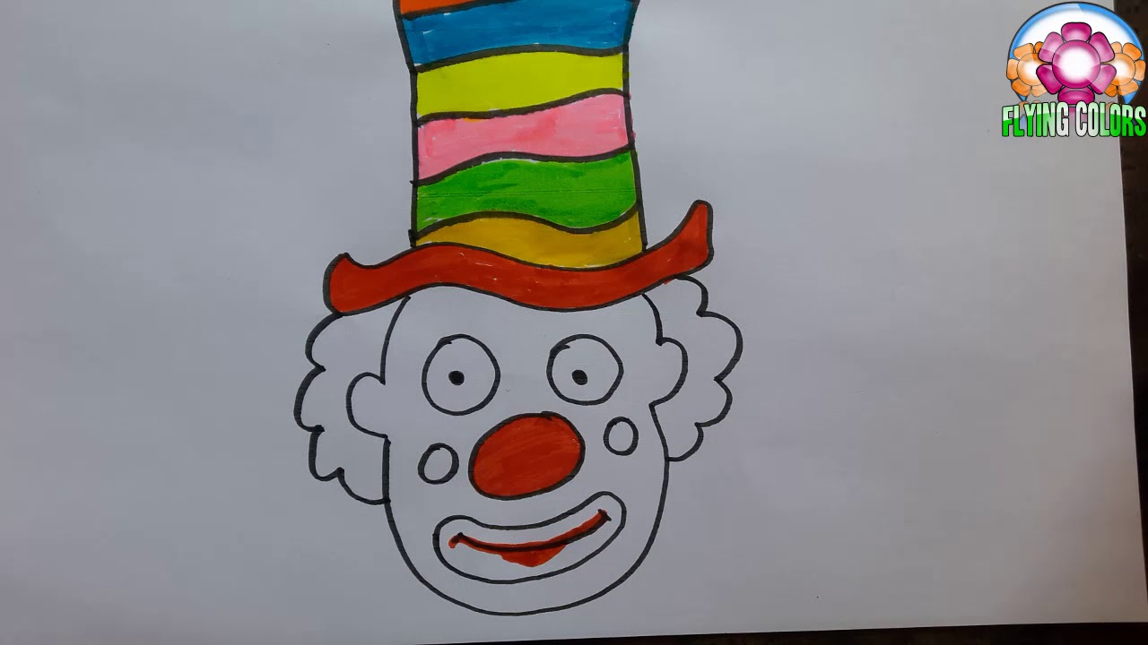 How To Draw Cartoon Clown Face For Children Easy Joker Drawing For Kids Youtube