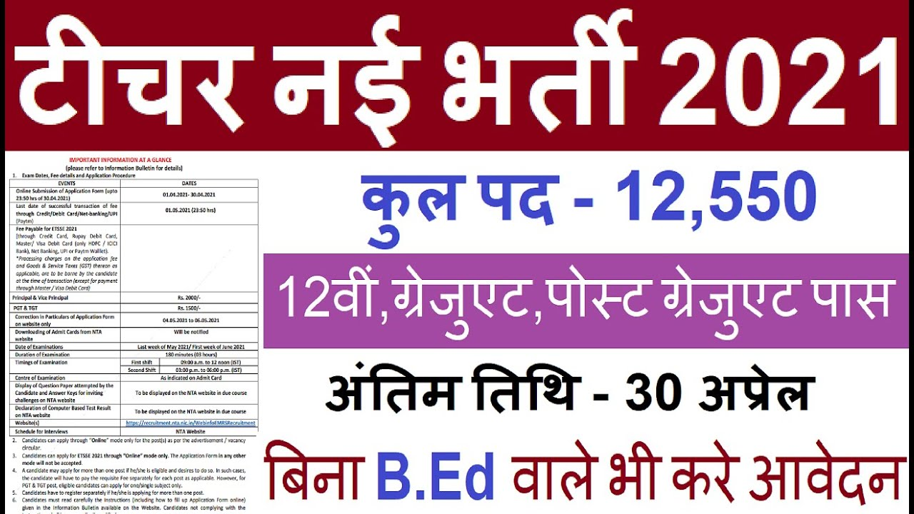Teacher vacancy 2021, primary teacher bharti 2021, new vacancy 2021, govt teacher recruitment 2021