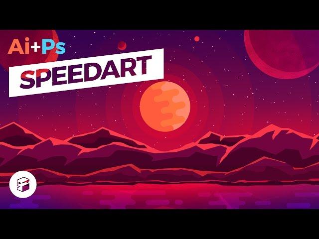 Fantasy Planet - Flat Design Illustration // Illustrator+Photoshop SpeedArt