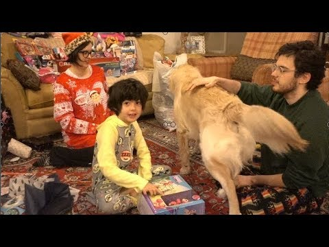 Opening presents on Christmas 2017