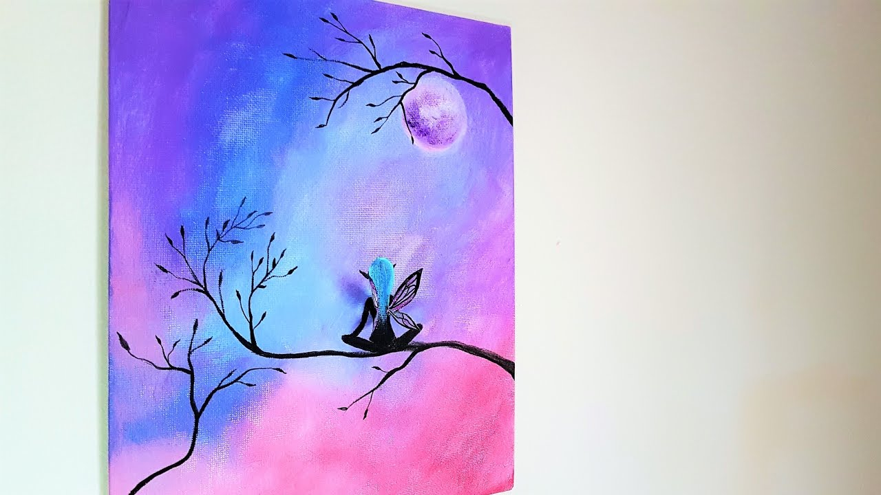 Diy 3d fairy canvas painting room decor youtube for 3d canvas ideas