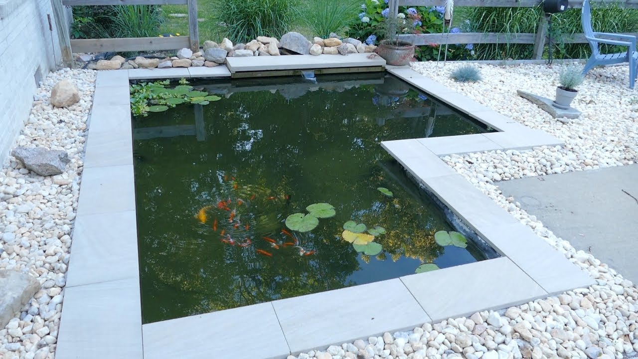 Diy modern backyard koi pond on a budget youtube for Diy outdoor fish pond