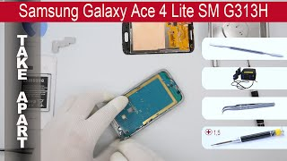 How to disassemble Samsung Galaxy Ace 4 Lite G313h, Take Apart, Tutorial(How to disassemble Samsung Galaxy Ace 4 Lite G313h by himself. Disassembly (take apart) and repair smartphone Samsung G313h at home with a minimal ..., 2015-06-12T14:07:58.000Z)