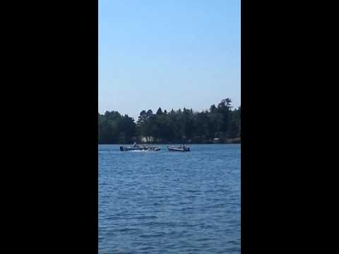 A boat in a circle of death on Rainy Lake Backus, MN