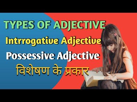 types of adjective | interrogative Adjective | Possessive Adjective | English Grammar in Hindi