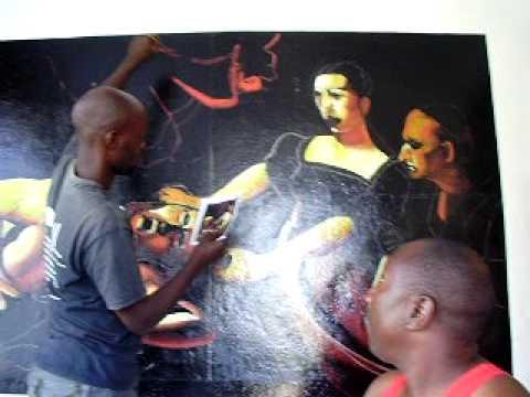 Frescoes by Giorgio Trombatore in Congo, the making of  Caravaggio
