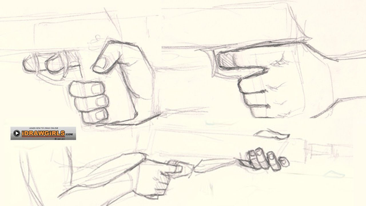How to draw hand holding gun