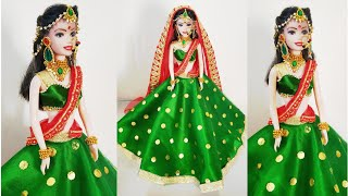 DIY Bridal Costume & Jewellery for Doll/Bridal Doll Decoration/How to Decorate a Doll as IndianBride