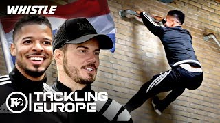 F2 Freestylers Try PARKOUR Soccer?! | Trick Shots In Amsterdam