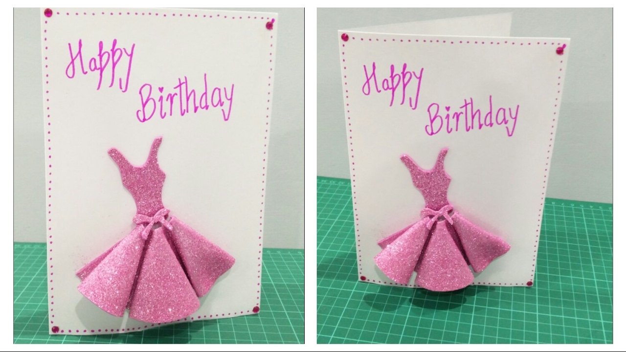 DIY Birthday Card for Girls YouTube – Birthday Cards Girls