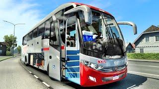 """Mod Bus : Hino RG (Carroceria R Guzman) Scania - by AleYT /Canal Ródha Games : Skins BR e Adaptação de Sound, (Compre Motor """"D-11"""",...""""D-13""""...), LOJA MAN ou LOJA DE MODs, ATS e ETS2. Link Bus : https://sharemods.com/enlublcbej85/Bus_G7_Hino_RG_Scania_ATS_e_ETS2_1.40.rar.html Mapa : DLC Baltic Sea. Game : Euro Truck Simulator 2 - v.1.40.0.83 Public Beta."""