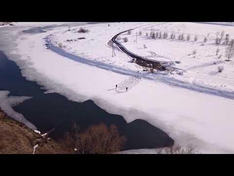 Мост на винтовых сваях  рЗуша в с.Корсаково 12-03-2019 (Начало)