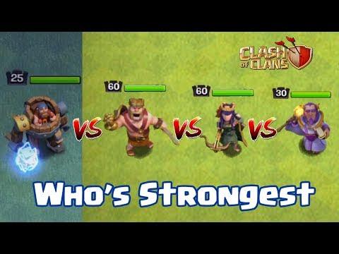 BATTLE MACHINE VS BARBARIAN KING VS ARCHER QUEEN VS GRAND WARDEN | WHO's STRONGEST | CLASH OF CLANS