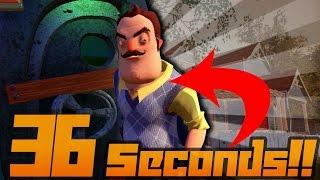 Hello Neighbor FASTEST Speedrun 36 SECOND DOOR | [+Tutorial] Without Glitches