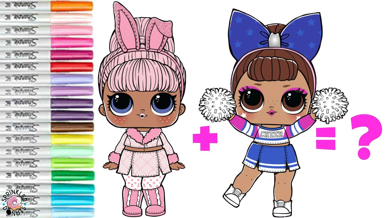 Lol Surprise Dolls Coloring Book Page Mash Up Sis Cheer And Snow Bunny Become Cheer Bunny Youtube