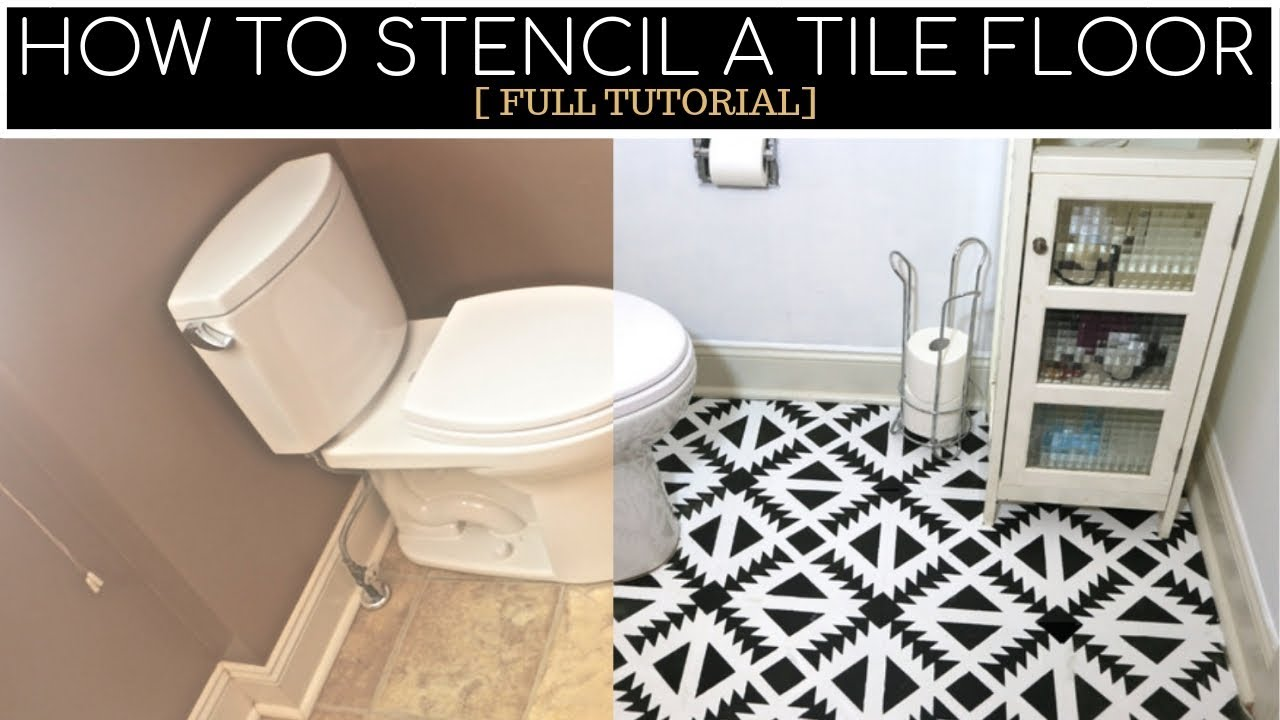 how to stencil a linoleum tile floor step by step youtube rh youtube com